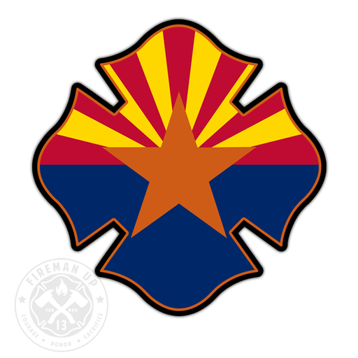"Arizona Flag Fire Maltese - 4"" Sticker"