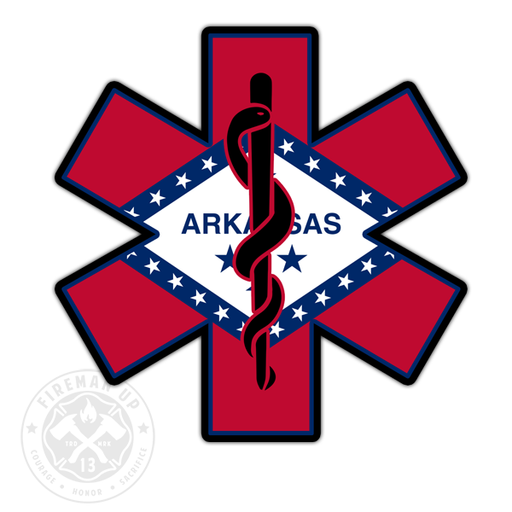 "Arkansas Flag EMS Star of Life - 4"" Sticker"