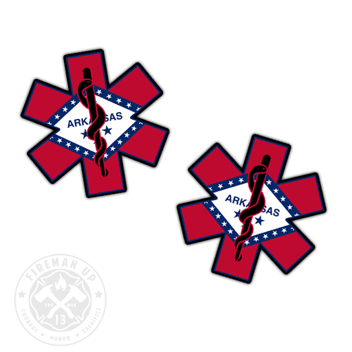 "Arkansas Flag EMS Star of Life - 2"" Sticker Pack"