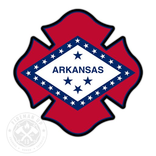 "Arkansas Flag Fire Maltese - 4"" Sticker"