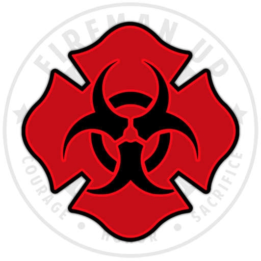 HazMat Bio Chemical Radioactive Sticker Decal Fireman Up Red