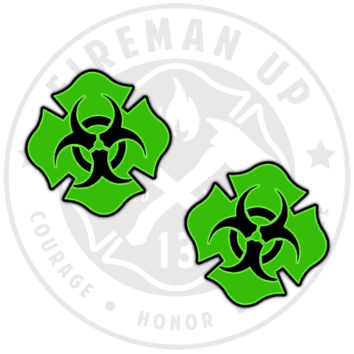 HazMat Bio Chemical Radiation Sticker Green Fireman Up