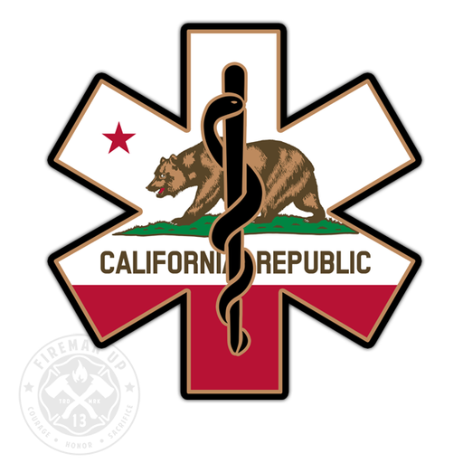 "California Flag EMS Star of Life - 4"" Sticker"