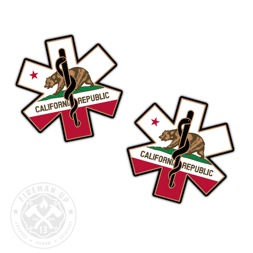 "California Flag EMS Star of Life - 2"" Sticker Pack"