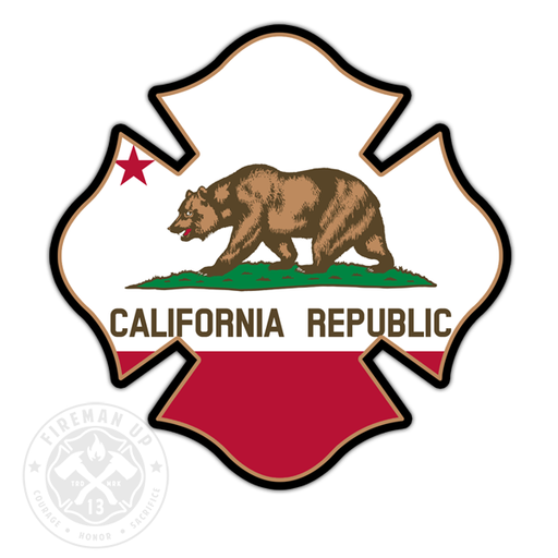 "California Flag Fire Maltese - 4"" Sticker"
