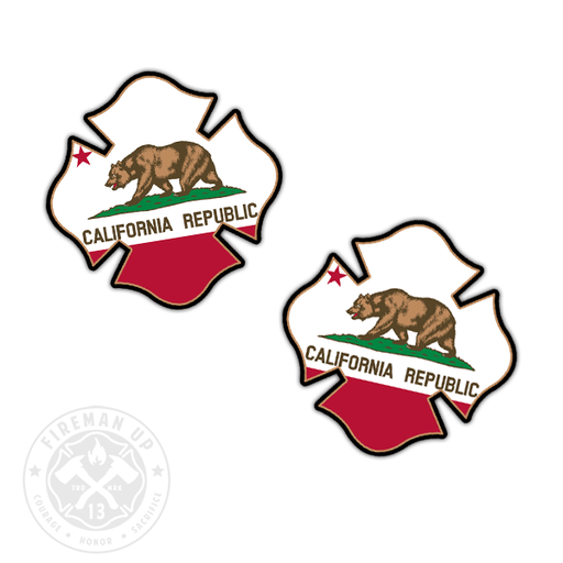 "California Flag Fire Maltese - 2"" Sticker Pack"