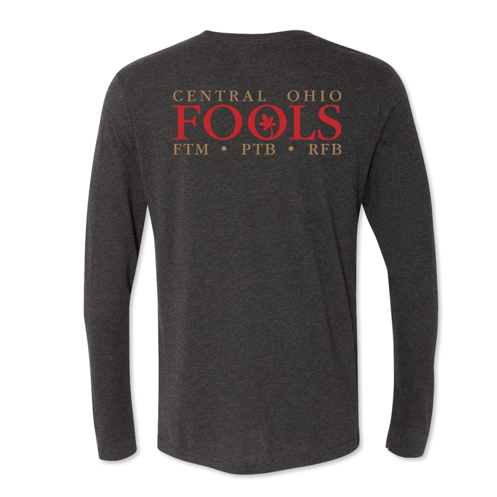 Central Ohio FOOLS - Wording Logo - Men's Tri Blend Long Sleeve Tee - PUBLIC