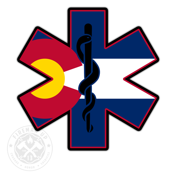 "Colorado Flag EMS Star of Life - 4"" Sticker"
