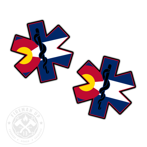 "Colorado Flag EMS Star of Life - 2"" Sticker Pack"