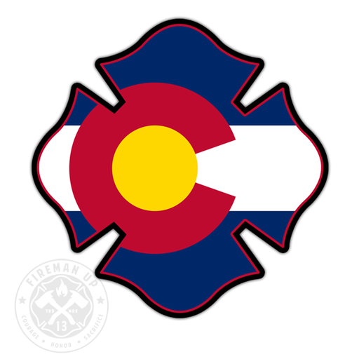"Colorado Flag Fire Maltese - 4"" Sticker"