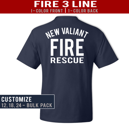 Fire 3 Line Custom Duty Tee - Bulk 1 Color
