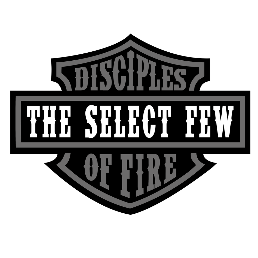 "Disciples of Fire Badge Grey - 4"" Sticker"