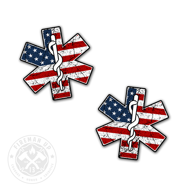 "EMS Star USA Flag Tattered - 2"" Sticker Pack"