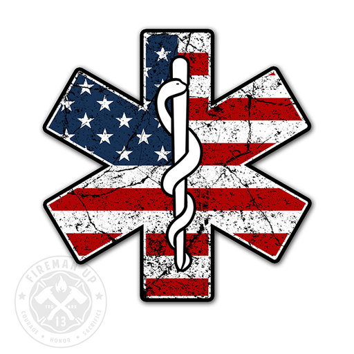 "EMS Star USA Flag Tattered - 4"" Sticker"