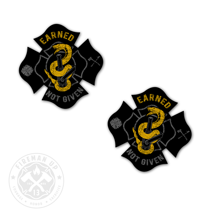 Earned Not Given Sticker Decal Fireman Up Firefighter