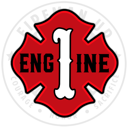 "Engine 1 Outline Number Maltese - 4"" Sticker"