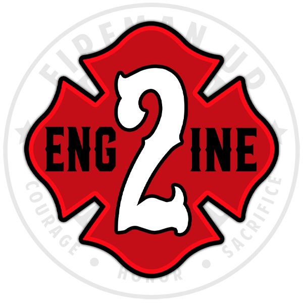 "Engine 2 Outline Number Maltese - 4"" Sticker"