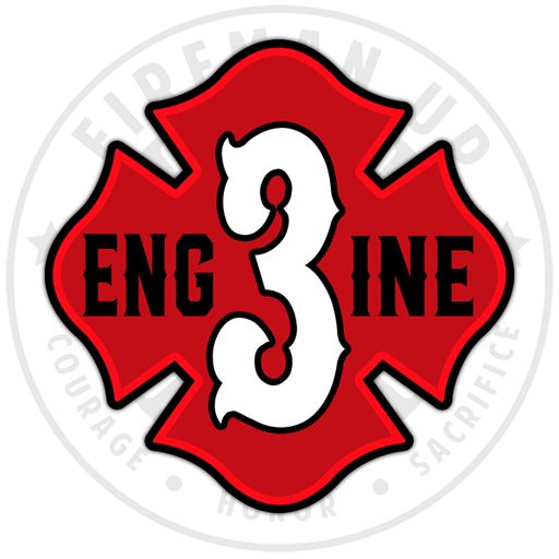 "Engine 3 Outline Number Maltese - 4"" Sticker"