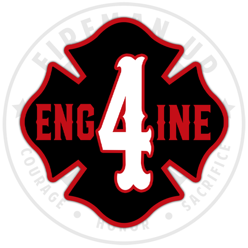 "Engine 4 Outline Number Maltese - 4"" Sticker"