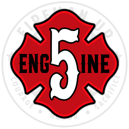 "Engine 5 Outline Number Maltese - 4"" Sticker"