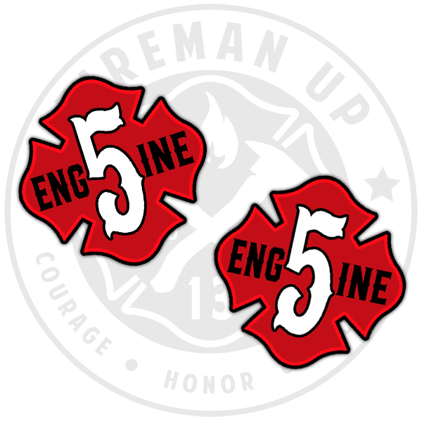 Engine 5 Sticker Pack Fireman Up Red