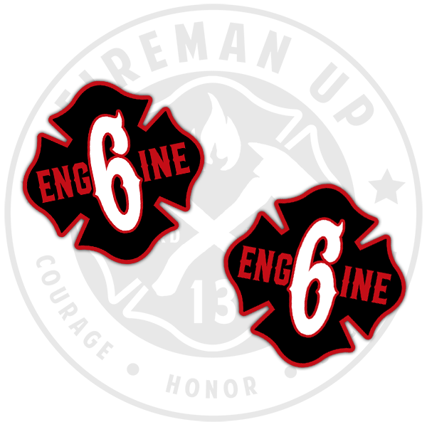 Engine 6 Sticker Decal Fireman Up Black