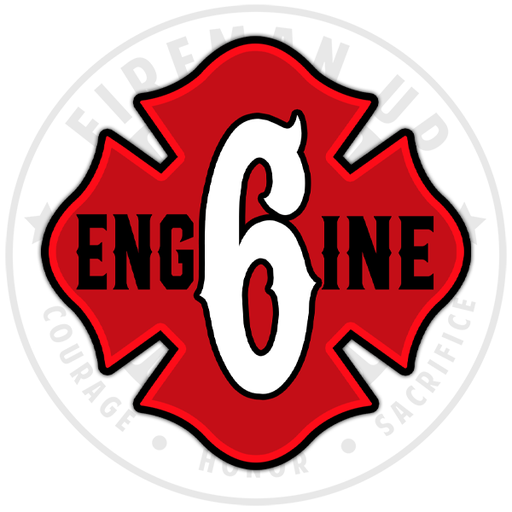 Engine 6 Apparatus Firefighter Sticker Decal Red