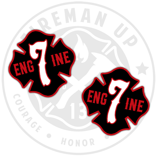 Engine 7 Sticker Firefighter Fireman Up Black
