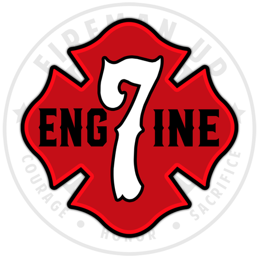 Engine 7 Sticker Decal Fireman Up