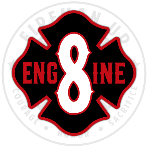 Engine 8 Fire Sticker Decal Fireman Up
