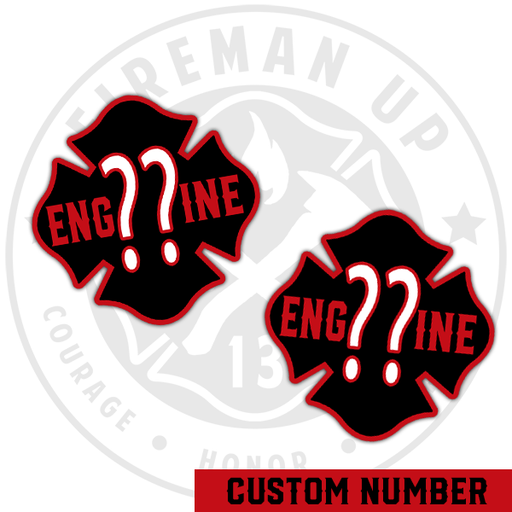 Engine CUSTOM Outline Number Maltese Sticker Pack