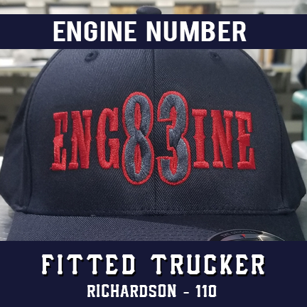 Engine Number Outlined Custom Hat - Fitted Trucker