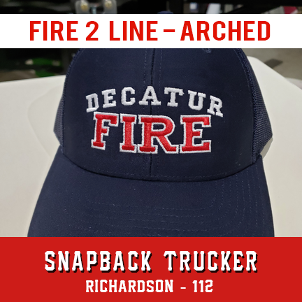 Fire 2 Line Arched Custom Hat - Snapback Trucker