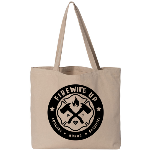 FireWIFE up Circle Logo - Small Canvas Tote