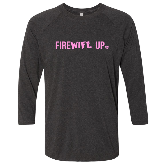 FireWIFE up - Unisex Three-Quarter Sleeve Raglan (PINK INK)