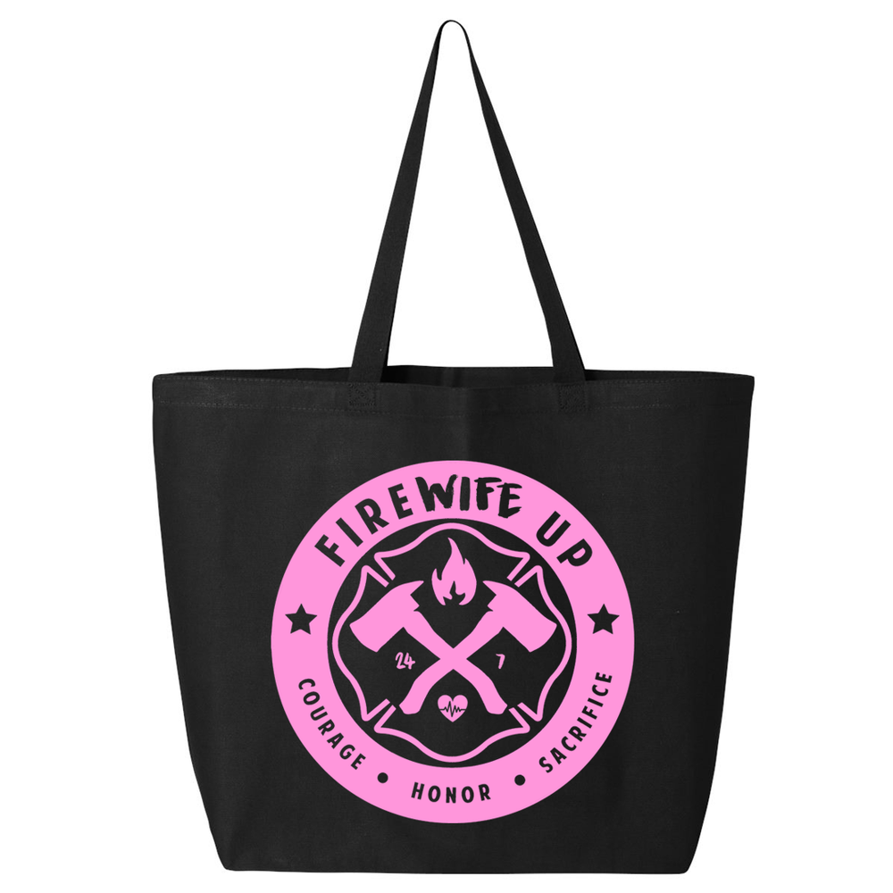 FireWIFE up Circle Logo - Large Canvas Tote (PINK INK)