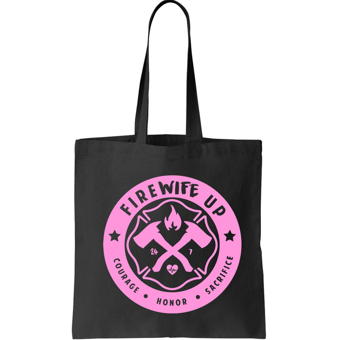 FireWIFE up Circle Logo - Small Canvas Tote (PINK INK)