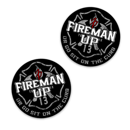 "Fireman Up Go Sit on the Curb Helmet Stickers - (2"" X 2"") 2 pack"