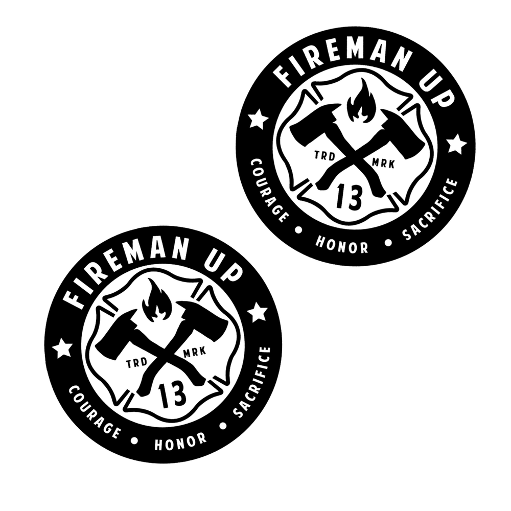 2x2 Fireman Up Helmet Stickers - 2 pack