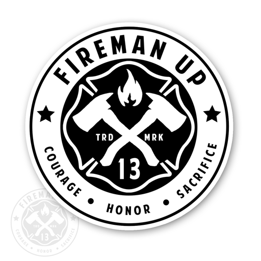 "Fireman Up Circle Logo Inverted - 4"" Sticker"