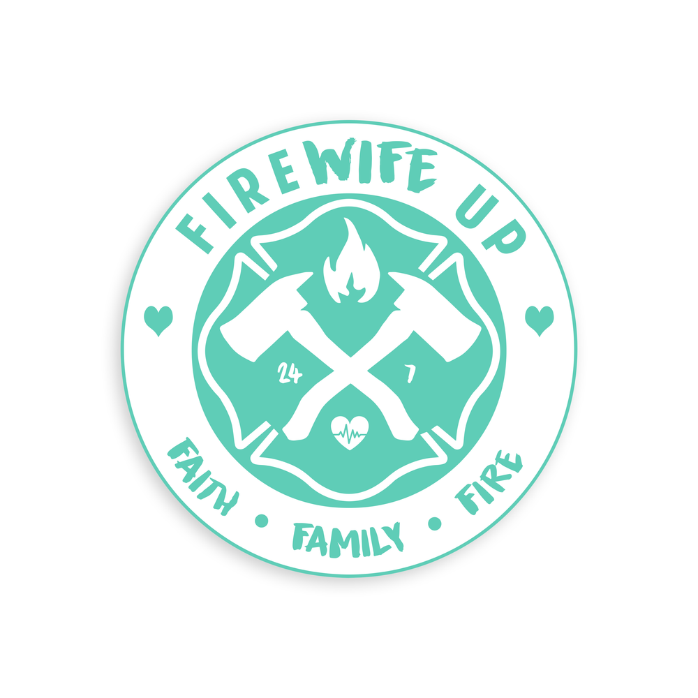 FireWife Up Circle logo (Faith Family Fire) Stickers
