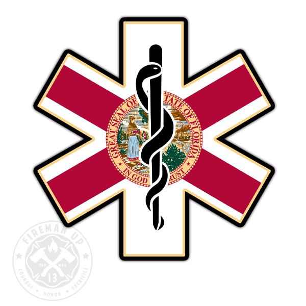"Florida Flag EMS Star of Life - 4"" Sticker"