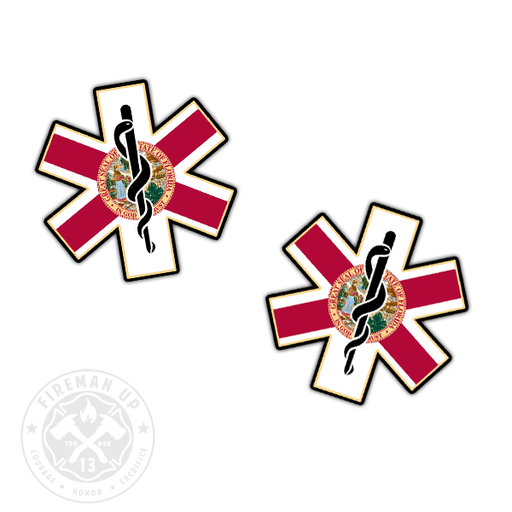 "Florida Flag EMS Star of Life - 2"" Sticker Pack"