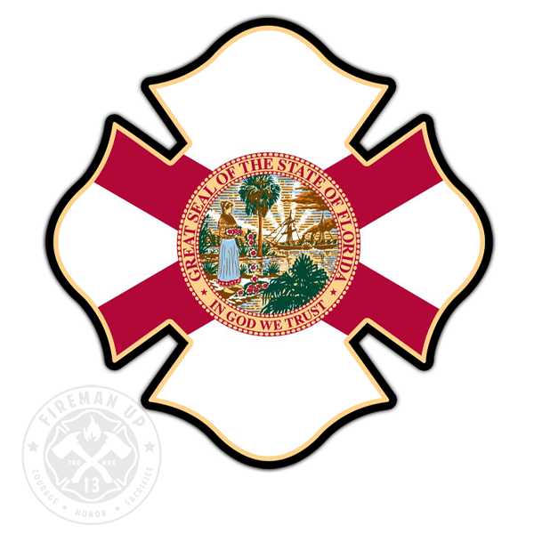"Florida Flag Fire Maltese - 4"" Sticker"