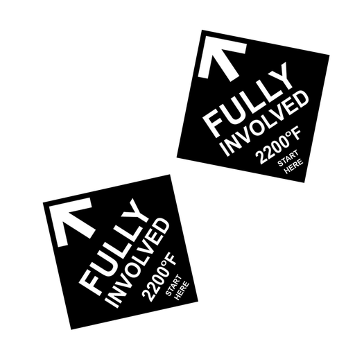 "Fully Involved 1.5"" x 1.5"" Sticker - 2 pack"