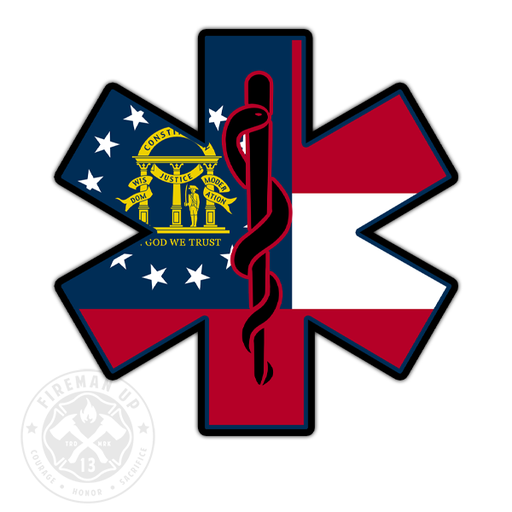 "Georgia Flag EMS Star of Life - 4"" Sticker"
