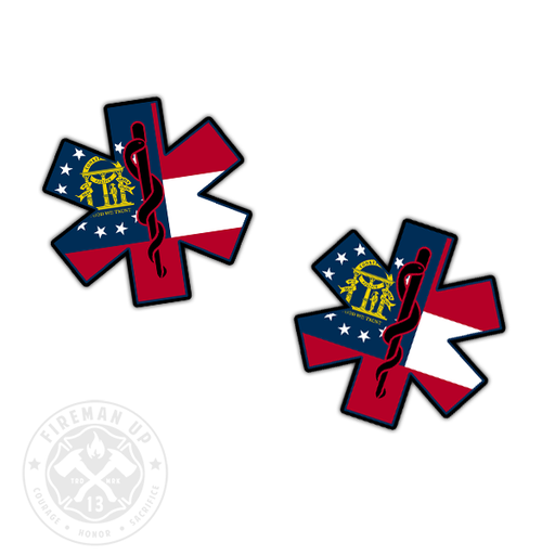 "Georgia Flag EMS Star of Life - 2"" Sticker Pack"