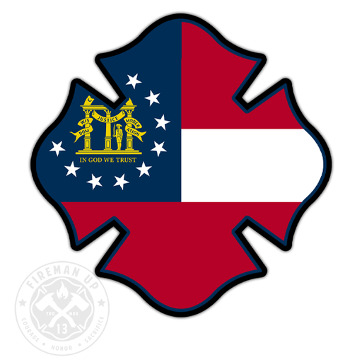 "Georgia Flag Fire Maltese - 4"" Sticker"