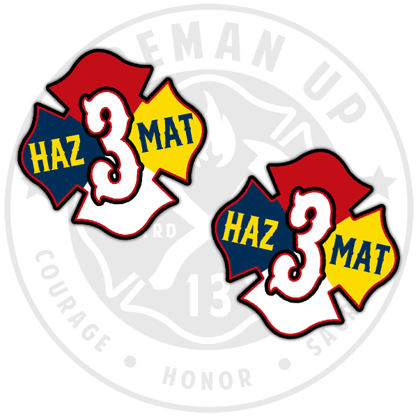 HazMat 3 Sticker Pack Fireman Up Hazardous Chemicals
