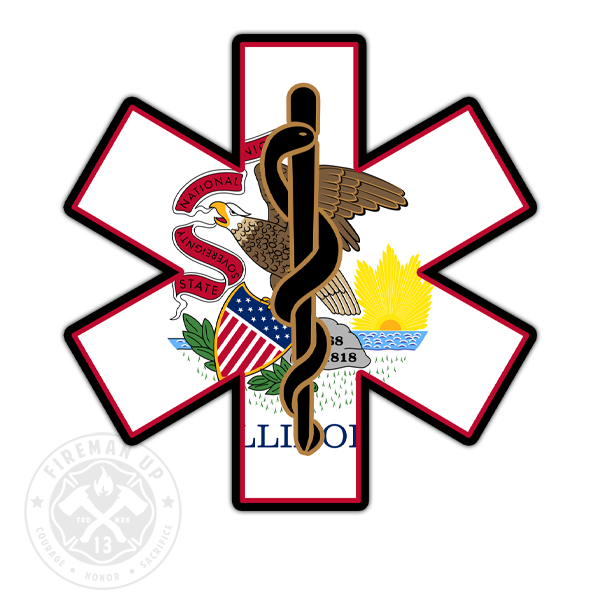 "Illinois Flag EMS Star of Life - 4"" Sticker"